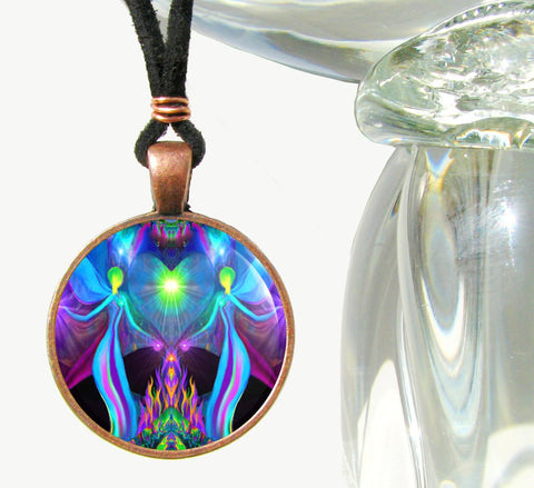 Violet Flame Heart Chakra Art Jewelry