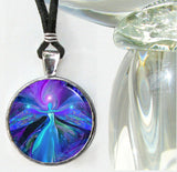 Purple Necklace Angel Energy Art Chakra Jewelry Third Eye Pendant