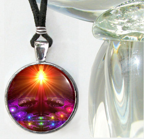 Rainbow Chakra Art Necklace Energy Healing Reiki Jewelry