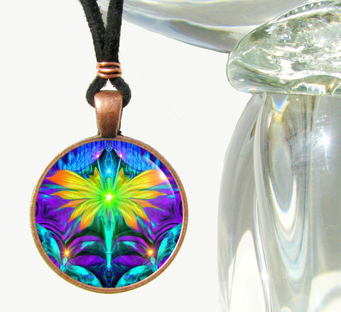 Chakra Jewelry Psychedelic Angel Necklace Rainbow Reiki Pendant