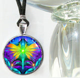 Fairy Art Pendant Necklace Psychedelic Rainbow Chakra Jewelry