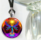 Angel Pendant, Chakra Necklace, Psychedelic Art