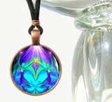 Purple Teal Necklace Chakra JewelryTwin Flames Pendant Reiki