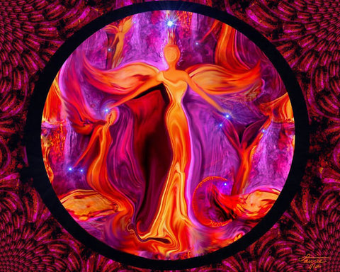 Reiki Wall Decor Chakra Energy Art Abstract Angel Print 8 x 10 Red