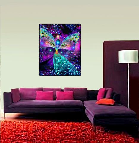 "Psychedelic Tapestry, Angel Wall Decor, Meditation Room Art, Wall Hanging, ""Bubbles of Clearing"" 40"" x 50"""