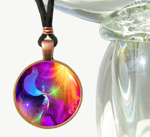 Rainbow Angel Art Pendant Necklace Reiki Energy Healing The Gift