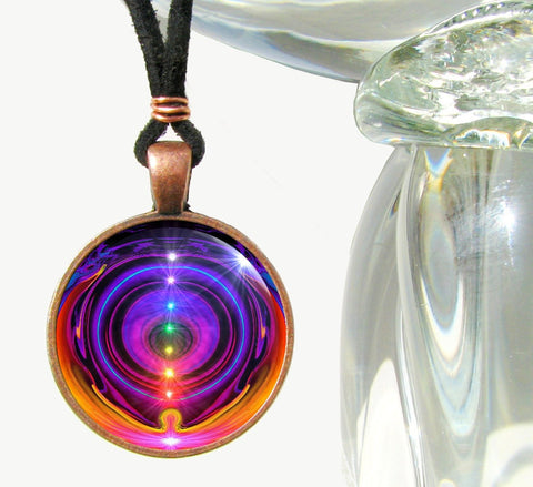 Original Art Chakra Necklace Rainbow Reiki Jewelry Energy Healing
