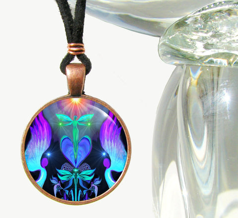 Reiki Energy Healing Angel Art Pendant Necklace