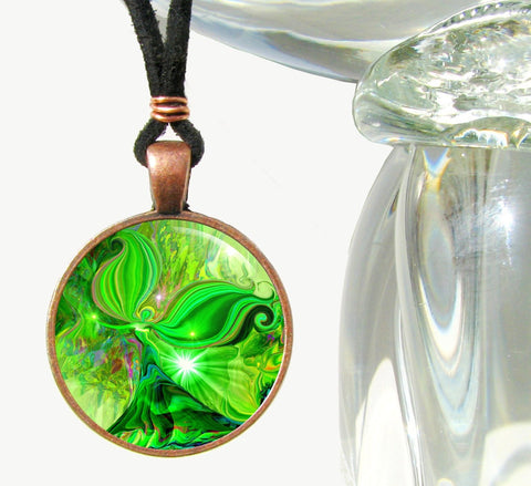 Psychedelic Hippie Reiki Angel Pendant Necklace