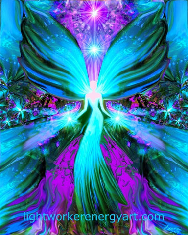 "healing angel reiki energy art 8 x 10 print ""lightworker"