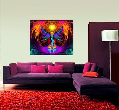 "Psychedelic Tapestry, Chakra Art, Reiki Healing, Meditation Room Decor, ""Phoenix Rising"""