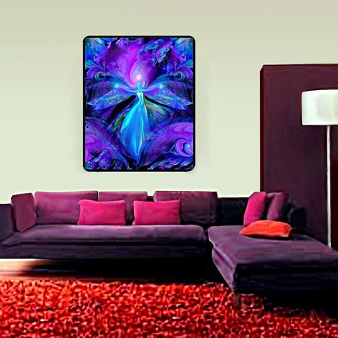 "Third Eye Art, Purple Wall Art, Psychedelic Tapestry, Chakra Art, Reiki Healing, ""The Seer""  40"" x 50"""