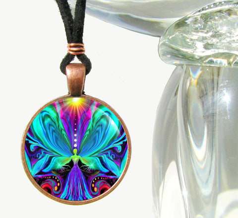 "Psychedelic Rainbow Chakra Angel Necklace ""Vibrance"""