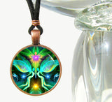 Abstract Reiki Healing Angel Green Necklace