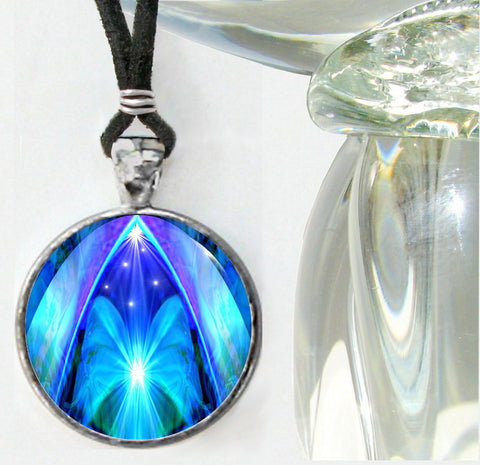 Blue Abstract Chakra Healing Energy Necklace