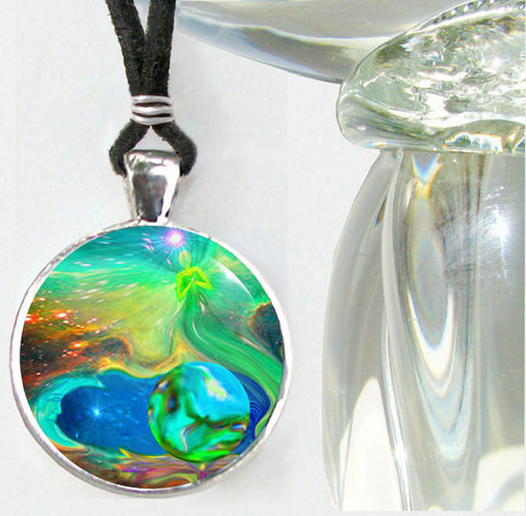 "Psychedelic Rainbow Reiki Healing Angel Necklace ""Earth Angels"""