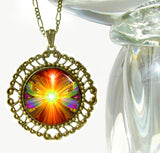 "Orange Psychedelic Necklace Chakra Jewelry ""Light Being"""