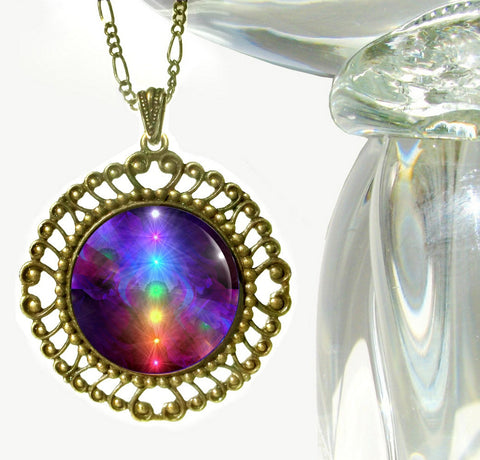 Chakra Jewelry Rainbow Necklace Energy Healing Pendant