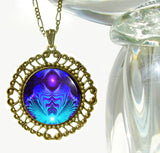 "Purple & Teal Chakra Necklace Reiki Jewelry ""Intuitive Truth"""