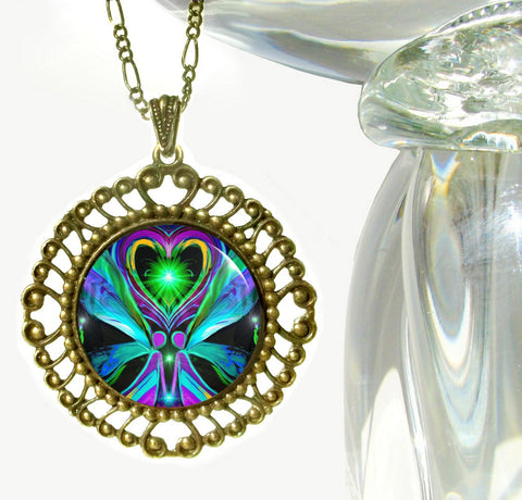 "Twin Flames Reiki Healing Pendant Necklace ""Unconditional Love"""