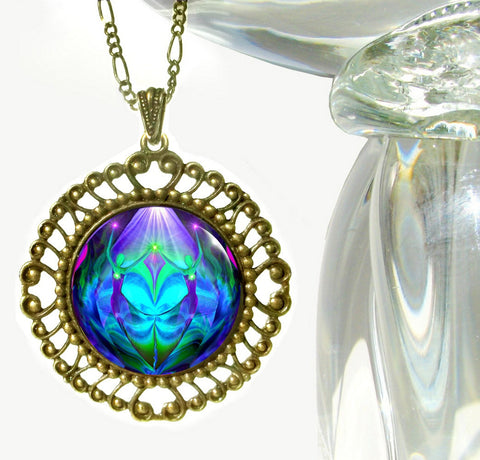 Purple & Teal Twin Flames Hippie Necklace