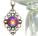 "Unique Rainbow Pendant Angel Necklace Reiki Jewelry ""Beacon"""