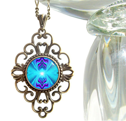 "Purple & Teal Abstract Jewelry Reiki Healing Necklace ""Intuitive Truth"""
