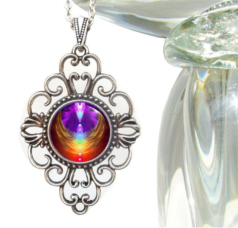"Unique Jewelry Reiki Healing Rainbow Necklace  ""Chakra Heart"""
