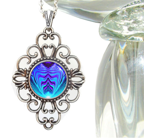 "Purple & Teal Abstract Art Reiki Healing Necklace ""Intuitive Truth"""