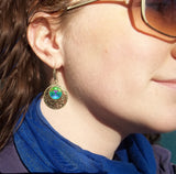 "Aqua & Teal Art, Hippe Earrings, Reiki Energy Healing,""Water Healer"""