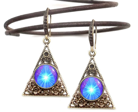 Pyramid Earrings, Chakra Art, Gypsy Jewelry
