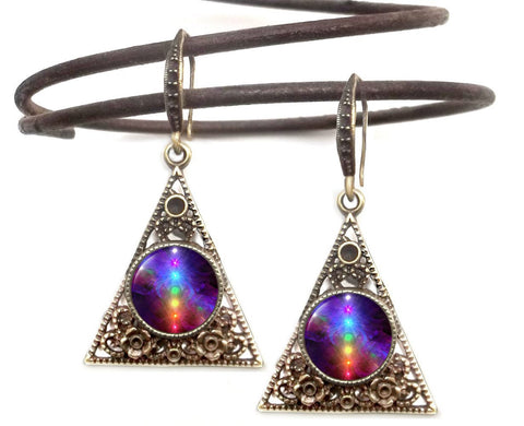 Chakra Art, Rainbow Pyramid Earrings