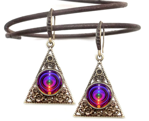 "Reiki Healing, Gypsy Earrings, Unique Pyramid Jewelry ""Chakra Alignment"""