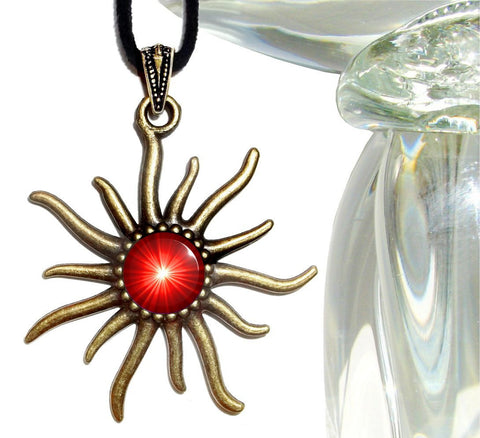 Root Chakra Necklace, Bright Red Pendant, Reiki Sun