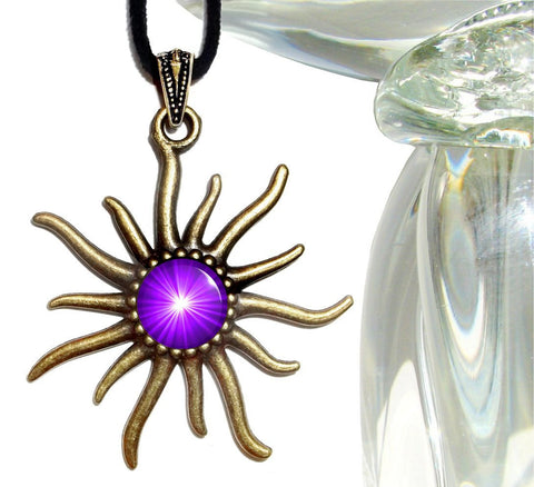 Third Eye Chakra, Sun Necklace, Purple Jewelry, Reiki Healing, Chakra Art