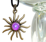 Crown Chakra Necklace, Sun Pendant, Reiki Healing