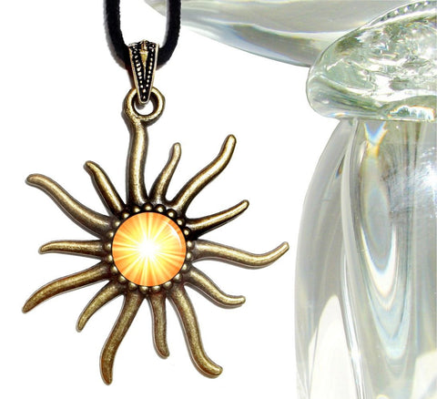 Solar Plexus Chakra Necklace, Bright Yellow Pendant, Reiki Sun