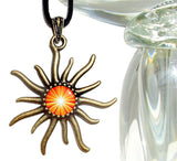 Sacral Chakra Necklace, Orange Starburst Pendant, Reiki Sun