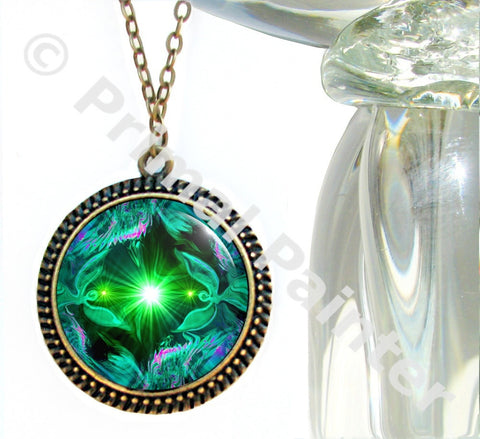 Green Heart Chakra Necklace Reiki Energy Art Angel Jewelry
