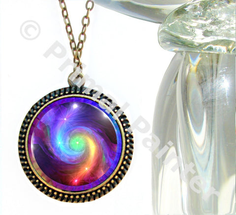 Rainbow Swirl, Reiki Energy, Boho Necklace