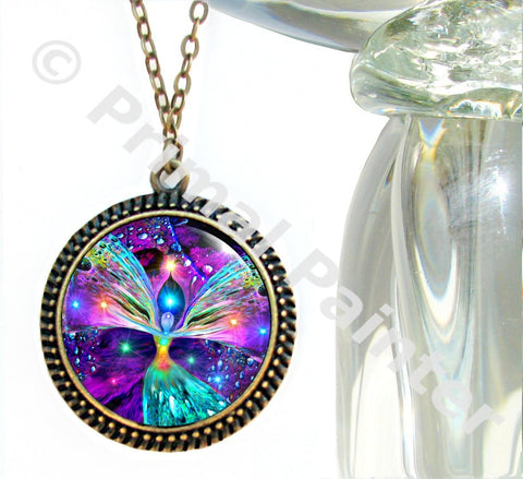 Rainbow Chakra Art Angel Necklace Reiki Jewelry Energy Pendant