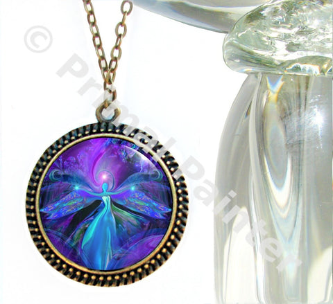 Angel Necklace Purple Jewelry Reiki Energy Chakra