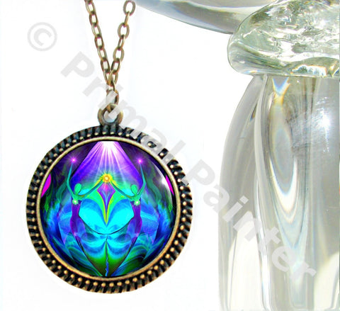 Twin Flames Heart Necklace Purple Teal Chakra Jewelry Reiki Healing