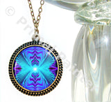 Purple Teal Chakra Jewelry Reiki Energy Necklace Wearable Art