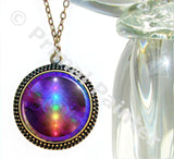 Rainbow Chakra Necklace Energy Art Reiki Jewelry Large Art Pendant