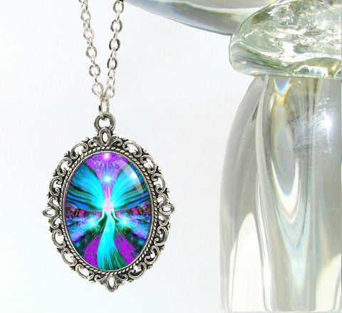 "Blue Reiki Necklace, Silver Oval Angel Art Pendant, ""The Lightworker"""