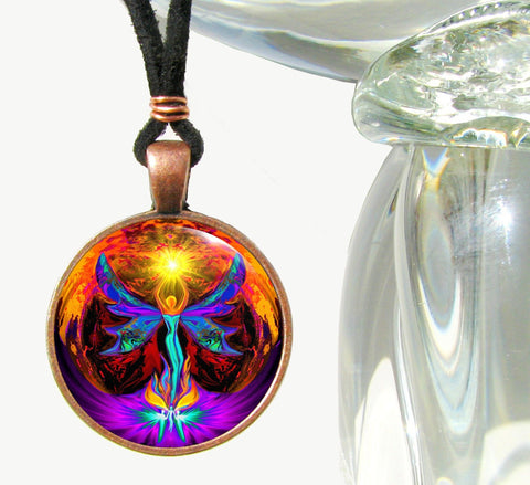 "Chakra Necklace, Psychedelic Art, ""Phoenix Rising"" Antique Copper"