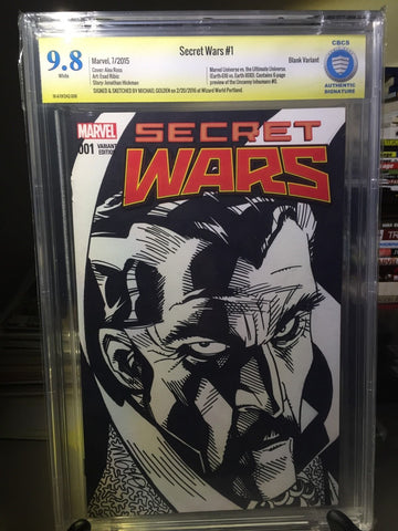 SECRET WARS #1, CBCS 9.8 NM/Mint, Doctor Strange Sketched Signed