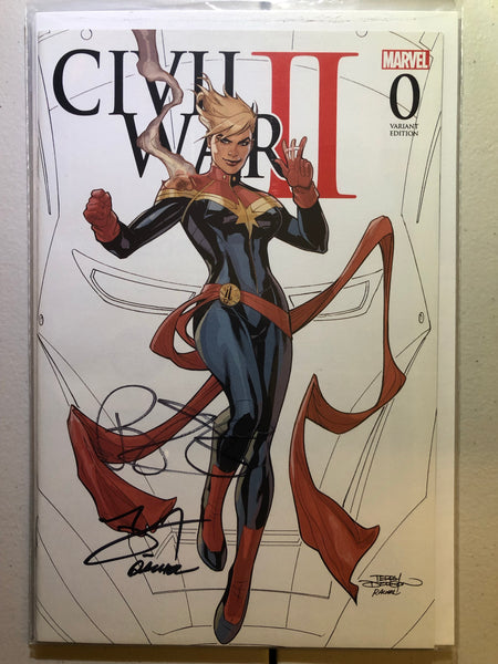 Civil War 2 #0 NM, Dodson Sketch Variant, Captain Marvel Cover, Signed 3x