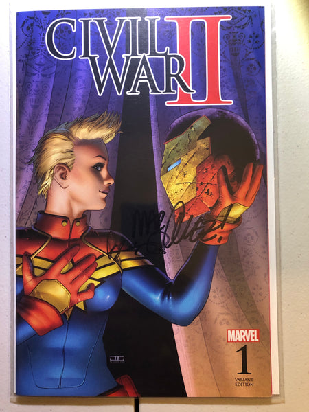 Civil War 2 #1 NM, Marquez Variant, Captain Marvel Cover, Signed 2x
